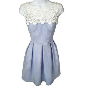 Vintage baby blue and white lace dress
